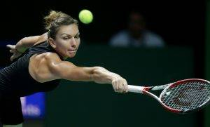 Romania's Simona Halep reaches for a backhand return to Serena Williams of the U.S. during their singles match at the WTA tennis finals in Singapore,Wednesday, Oct. 22, 2014. (AP Photo/Mark Baker)