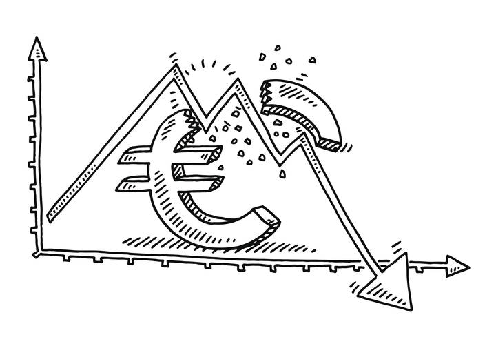Hand-drawn vector drawing of a Broken Euro Symbol and a Graph showing a Recession. Black-and-White sketch on a transparent background (.eps-file). Included files are EPS (v10) and Hi-Res JPG.