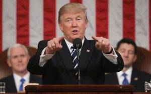 "WASHINGTON, USA - FEBRUARY 28: (----EDITORIAL USE ONLY – MANDATORY CREDIT - ""JIM LO SCALZO / EPA / POOL"" - NO MARKETING NO ADVERTISING CAMPAIGNS - DISTRIBUTED AS A SERVICE TO CLIENTS----) US President Donald J. Trump delivers his first address to a joint session of Congress from the floor of the House of Representatives in Washington, United States on February 28, 2017. Traditionally the first address to a joint session of Congress by a newly-elected president is not referred to as a State of the Union. Jim Lo Scalzo/EPA/Pool / Anadolu Agency"