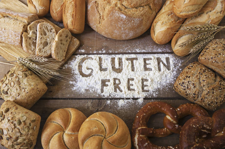 gluten free breads on wood background