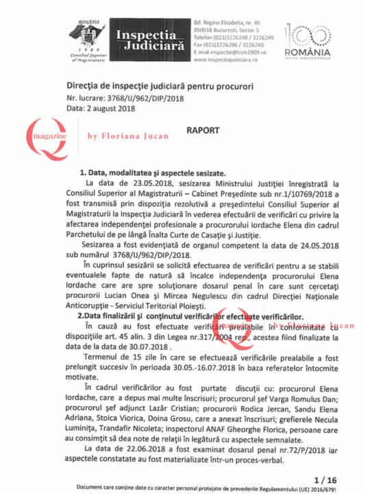 Documente exclusive Q Magazine – Inspectia Judiciară1-16