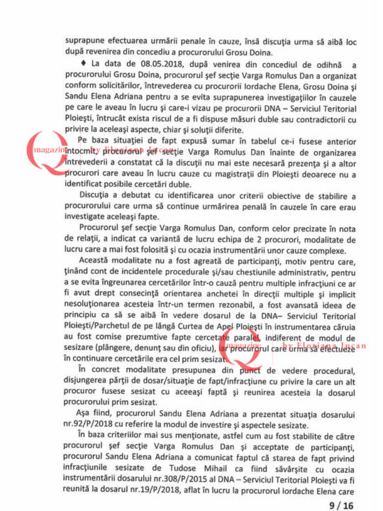 Documente exclusive Q Magazine – Inspectia Judiciară9-16