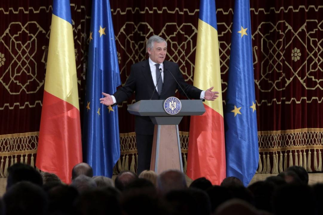 Ceremonia oficială de lansare a Președinției României la Consiliul Uniunii Europene-Antonio Tajani-Guv.ro