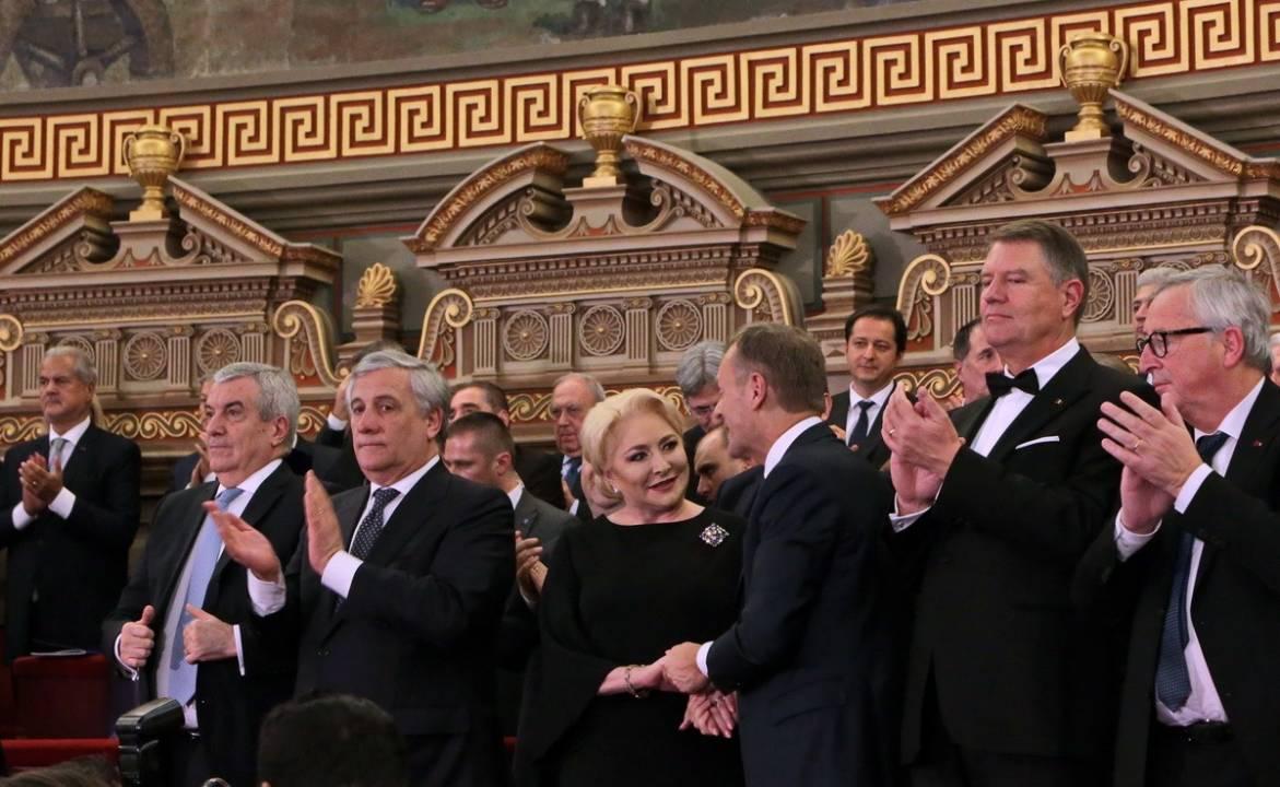 Ceremonia oficială de lansare a Președinției României la Consiliul Uniunii Europene-Viorica Dancila, Iohannis, Tariceanu
