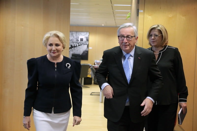The Romanian Prim Minister Viorica Dancila and Jean Claude Junker, Q Magazine