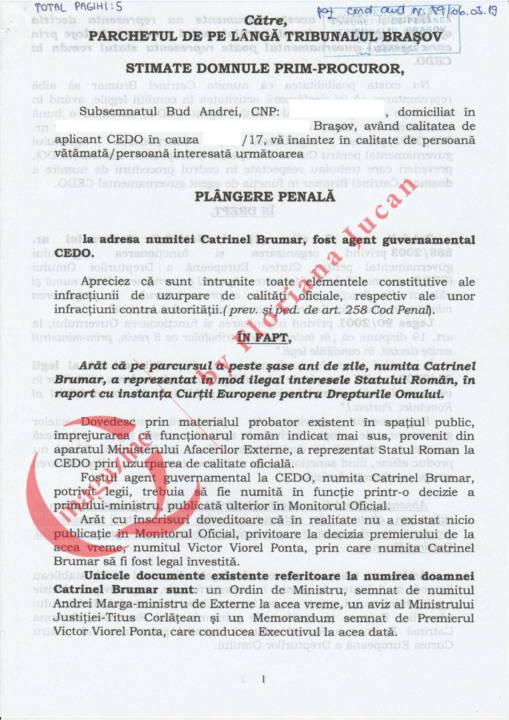 Document exclusiv QMagazine – Plangere penala Catrinel Brumar – CEDO (1)
